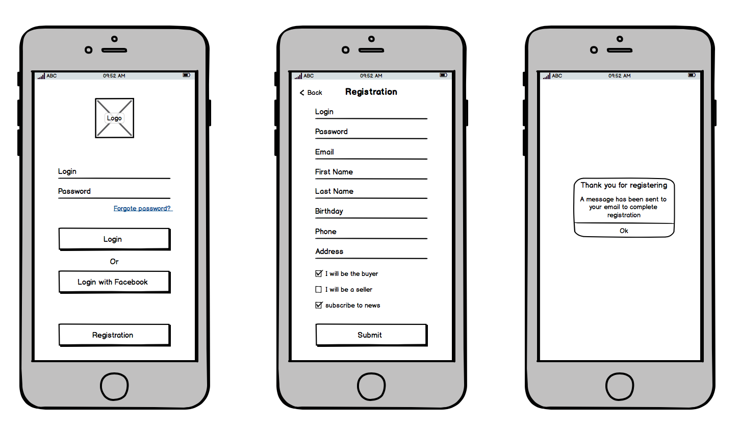 Example wireframes for mobile shopping app