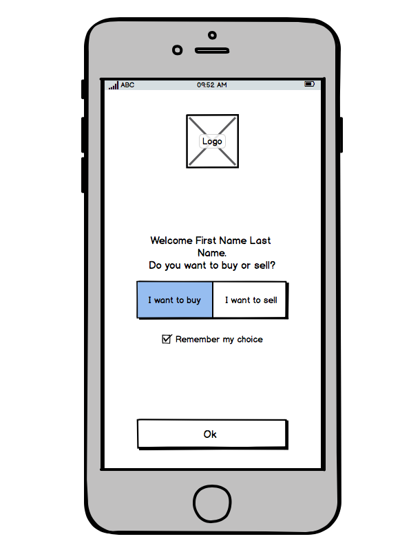 Wireframe of registration process