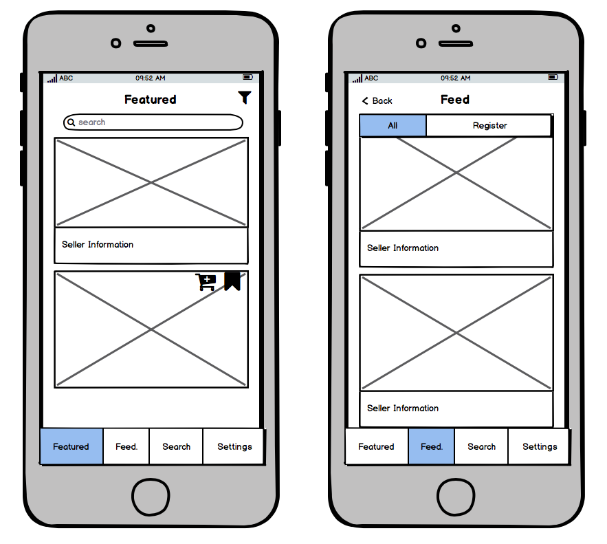 Wireframe showing state change before and after user profile is set